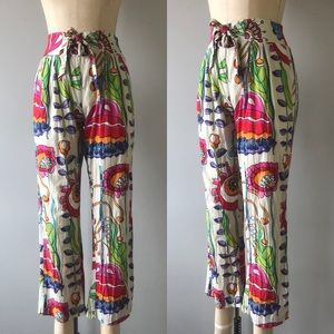 Vintage 70s Abstract Flower Garden HighWaist Pants